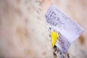 Handwritten note in the Western Wall (Kotel)